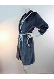 VISON & Grey  Fleece dressing gown  by LE CHAT