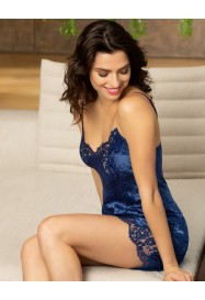 Short nightie in silk and lace DRESSING FLORAL in BLUE