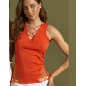 Top coton fantaisie sans manche ORANGE - Oscalito