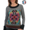 "Pull col rond  ""Multico & Gris"" d'Olivier Philips"