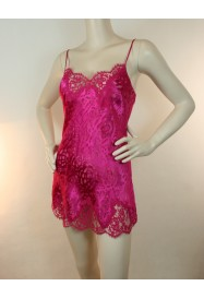 Short nightie in silk and lace DRESSING FLORAL in Fushia