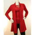 Red long Jacket Wool & Silk  by OSCALITO