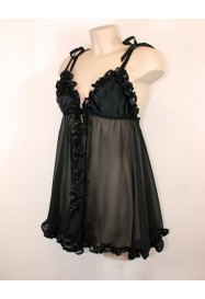 """Black sexy babydoll """"Frou-frou"""" by  """"Folies by Renaud France"""""""