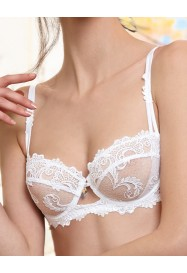 """White Half cup bra """"DRESSING FLORAL""""  by Lise Charmel"""