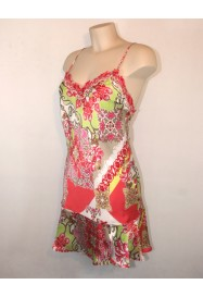 Silky Nightgown - FLORAISON CORAIL by Lise Charmel