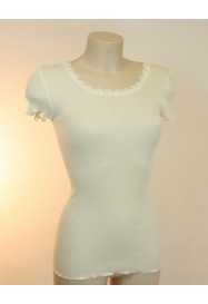 Ivory short sleeves top in wool & silk by LISANZA
