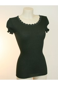 Black short sleeves top in wool & silk by LISANZA