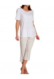 Striped Sand & white cotton pajama  by ROSCH Lingerie