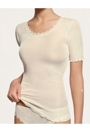 Ivory short sleeves top in  silk by LISANZA