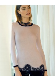 Long sleeves top wool & silk with  lace by LISANZA