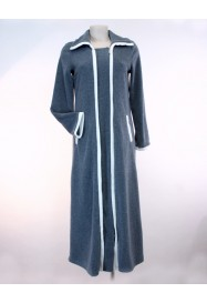 Ziped long dressing gown in fleece by Louis Féraud