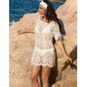 Beach long shirt MACRAME BOHEME  by LISE CHARMEL