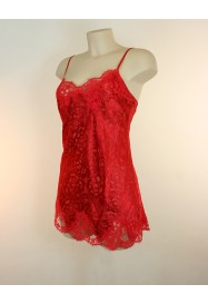 Short nightie in silk and lace DRESSING FLORAL in Red
