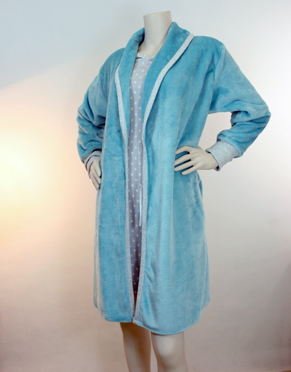 Blue and grey dressing gown LE CHAT