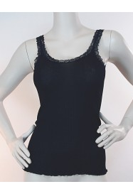 Black lacy sleeveless cotton Top by FRALY