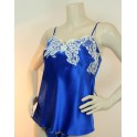 Blue top in silk and lace SPLENDEUR FIDJI by Lise Charmel
