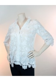 White cotton shirt with 3/4 sleeves, fancy neckline by Oscalito