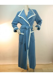 Blue Long dressing gown in fleece by Louis Féraud