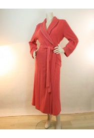 Coral long dressing gown in fleece by Rosch