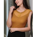 Curry color fancy sleeveless  Top by FRALY