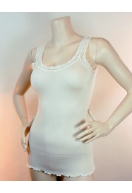 silky ivory top with lace - FRALY