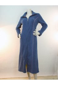Blue long dressing gown in fleece by Rosch