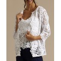 White cotton jacket with 3/4 sleeves, in macramé by Oscalito